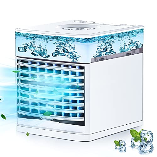 Mini Air Cooler, 3 in 1 Portable Air Conditioner, Personal Evaporative Cooler with 3 Speeds & 7 colors lights, Desktop Space Cooler Fan & Humidifier & Air Circulator - for Home Office Travel (white)