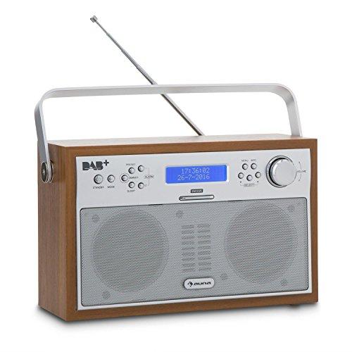 auna Akkord - Digitalradio, Retro Kofferradio, DAB+ / PLL-UKW-Tuner, dimmbares Display, RDS-Funktion, 20 Senderspeicherplätze, Wecker, Netz- und Battarie-Betrieb, tragbar, braun