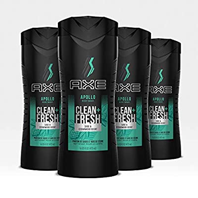 AXE Men's Body Wash for a Clean and Fresh Feel Apollo Dermatologist Tested Bodywash Soap 16 oz 4 Count
