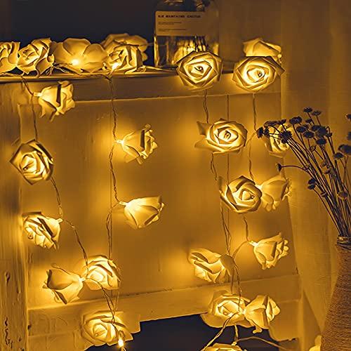 Sirecal Cadena de Luz LED Guirnalda Luces Flor Rosa Lámpara 14ft 30 LED Rosas Luces de Hadas Con Pilas Blanco Cálido Decoración de Flores Románticas para Fiesta Navidad San Valentín Bodas (Blanco)