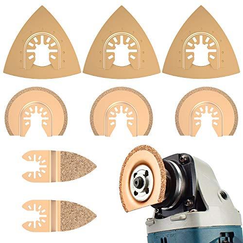 Oszillierendes Zubehör Set Mix Multitool Sägeblätter Kit Multifunktionswerkzeug für Kunststoff/Holz/Soft Metal Cutting für Fein Multimaster Makita Einhell,8 Stück