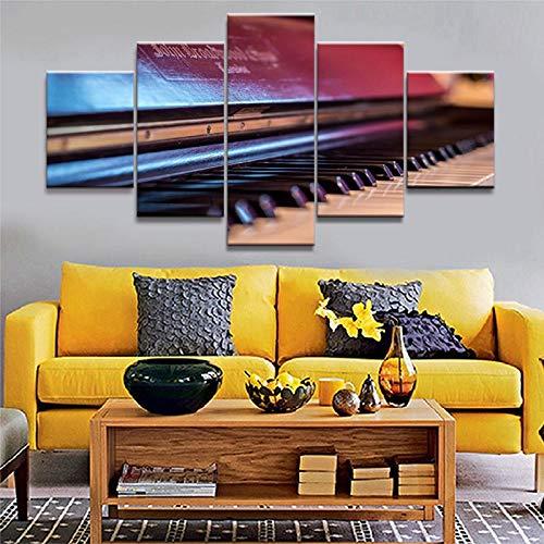 WWMJBH schilderij wooncultuur canvas Hd-druk modulaire afbeeldingen 5 panelen muziekinstrumenten piano muurkunst poster modern woonkamervlies canvas foto 5 kunstdruk modern 200x100cm