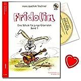 Fridolin Band 1 - Gitarrenschule für Kinder ( ungefähr ab dem 7. Lebensjahr ) von Hans Joachim Teschner - hundert Lieder und Spielstücke mit CD und bunter herzförmiger Notenklammer