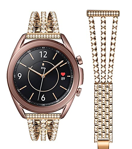 20mm 22mm Relojes De Reloj Para Samsung Galaxy Active2 Watch Strap De Acero Inoxidable Watch3 / 4 Pulsera De Metal 1033 (Color : Rose gold, Size : 22mm)
