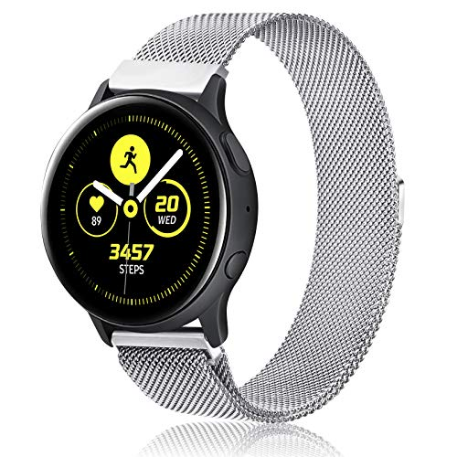 Gaoren Kompatibel mit Samsung Galaxy Watch Active/Active2 40mm 44mm/Watch 3 41mm Armband, 20mm Edelstahl Metall Ersatz Uhrenarmband für Gear Sport/S2 Classic/Garmin Vivoactive 3 (Silber)