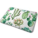 SWEET TANG Novelty Watercolor Elements Succulent Plants Cactus Bathroom Rugs 16 x 24 Inches Quick Dry and Non-Slip Fashion Bath Mat for Kitchen Living Room, Water Absorbent Non Slip Memory Foam Rug