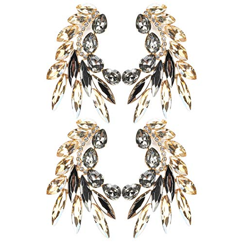 KUIDAMOS 2 Pares de Pendientes Bonitos y agraciados con Forma de Oreja, Gota para el oído Retro para Mujeres/niñas, Accesorio de joyería de aleación(Gold)