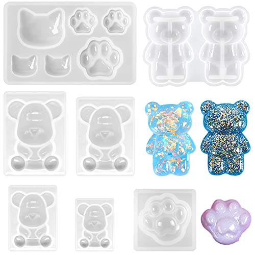 Souarts - Molde de resina epoxi para animales 3D, molde de silicona de resina de animales, molde de resina epoxi de oso