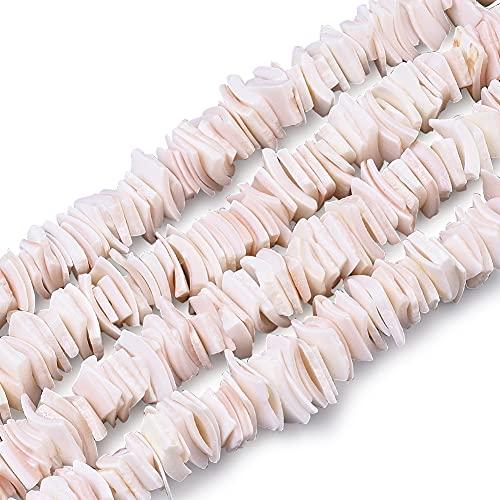 PandaHall 1 hebras cuadrados de agua dulce natural Shell perlas rosa espaciador cuentas sueltas para Hawaii tobillo pulsera collares pendientes artesanía, 6 ~ 10.5 x 5 ~ 8.5 x 0.5 ~ 4 mm