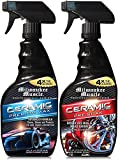 Milwaukee Muscle 24oz Ceramic Auto Car Wax Spray with Free 24oz Ceramic Bug,Grime, Wheel Cleaner - Advanced Hydrophobic Spray for Shine and Protection