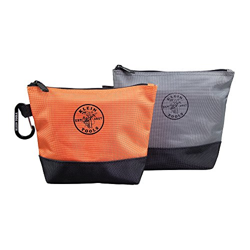 Klein Tools 55470 Utility Bag, Stand-Up Zipper Tool Bags in Orange/Black, Gray/Black, 2-Pack