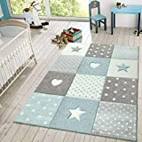 Kids Rug Checkered Patterned with Dots Hearts and Stars in Pastel Colors Area Rug for Childrens Room, Size:3'11' x 5'7', Colour:Blue
