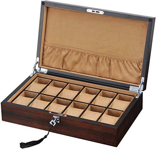 Caja de reloj para almacenamiento de joyas Caja de almacenamiento de reloj para hombres o mujeres, de madera, 12 ranuras para relojes con almohada suave para la muñeca, con cerradura, relojes de