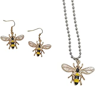 XCFS 3D AAA Cubic Zirconia Bumble bee Charm Earring Set Sorts of Yellow Bee Drop Studs And irregular Pearls Bee Dangle Ear...