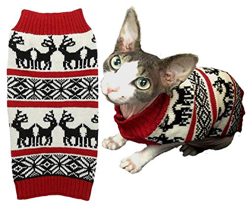 Ugly Vintage Knit Xmas Reindeer Holiday Festive Dog Sweater for Puppy Small Dogs, X-Small (XS) Size