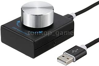 Feefine Mini USB Volume Control Knob Audio Adjuster with 4.9ft USB Cable PC Speakers Switch Control Module PC Speaker Support Win7/8/10/XP/Mac/Vista Android (black)