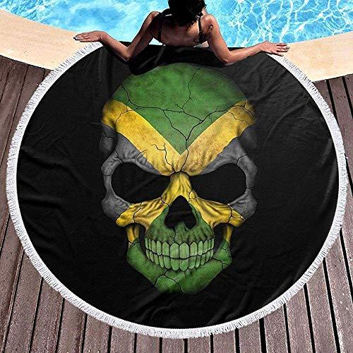 Leo-Shop Runde Strandtuch Decke Jamaikanische Flagge Schädel Jamaica Head Beach Throw mit Quasten Mikrofaser Handtücher Picknick Teppich Yoga-Matte