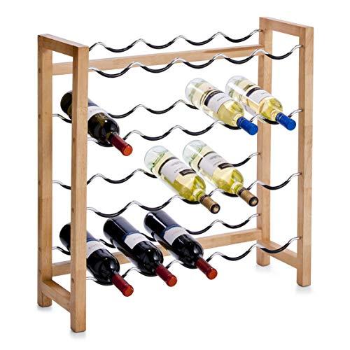 Zeller Weinregal für 20 Flaschen, Gummibaum/Metall / 70 x 23 x 71