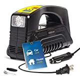 Kensun Portable Tire Inflator Pump, AC/DC for Car 12V DC and Home 110V AC, Portable Air Compressor Pump with LED Light, for Car Tires, Bike Tires and Other Inflatables