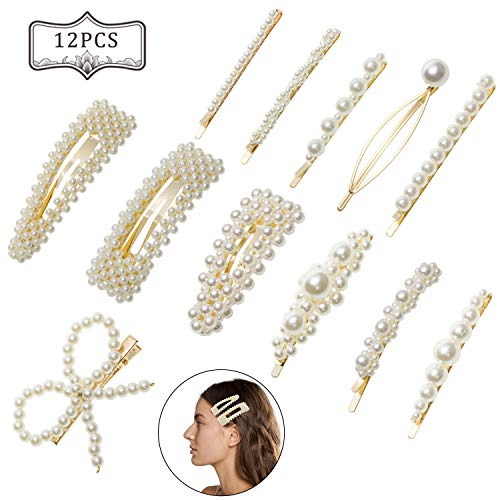 12 Stücke Künstliche Perlen Haarspangen aus Metall Haarspangen Zubehör, Mode Elegante Haar Snap Clips Braut Perle Handmade Haarschmuck Hochzeit Geschenke für Damen Mädchen