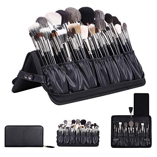 Rownyeon Professionelle Make-up Pinsel Veranstalter Tasche Maskenbildner Kosmetiktasche Leder Make-Up Handtasche Schwarz Reise Tragbare (Nur Tasche)