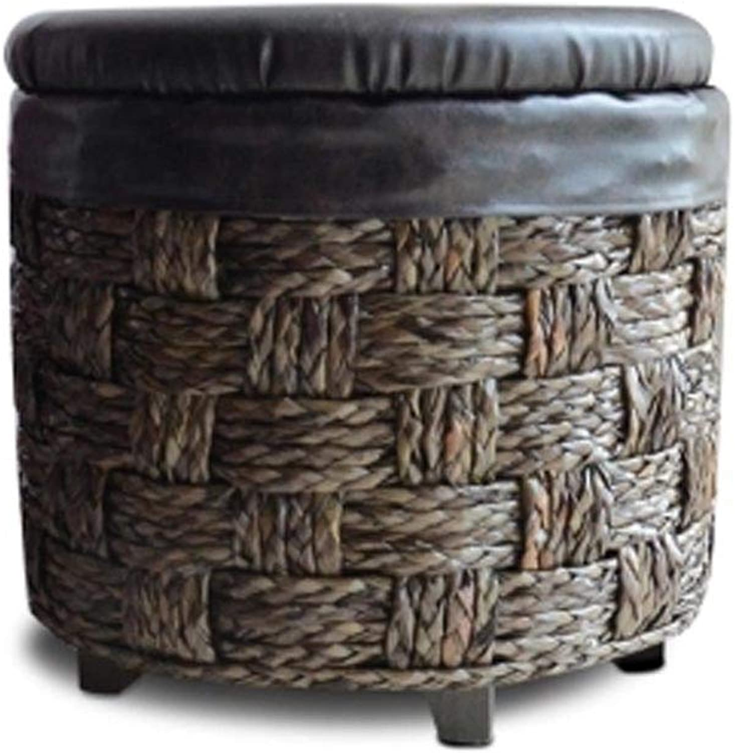 AINIYF Rattan Storage Stool Storage Stool Can Sit Adult Solid Wood Multifunctional shoes Bench Sofa Stool Seat (Size   S)