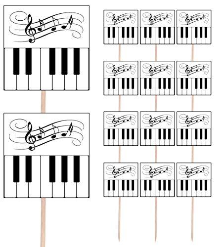 AK Giftshop Keyboard Piano Notities Muziaal Instrument Themed Party Voedsel & Beker Cake Picks Sticks Decoraties Toppers Voedselvlaggen ( pak van 14)