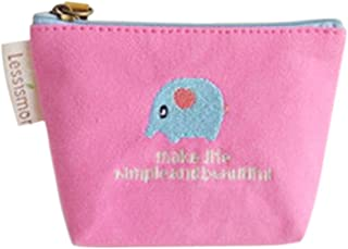 Luxurious Mini Coin Purse Canvas Pouch Wallet Money Bag,Colour:Pink (Color : Pink)