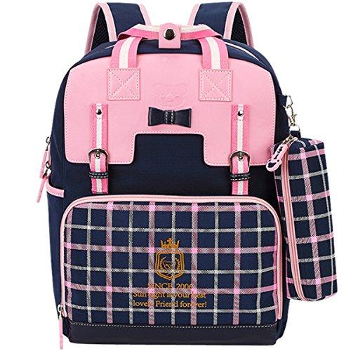 Uniuooi Ergonomic Backpack Primary School Bag for Girls Age 6-12 Years Kids Rucksack - Ideal Birthday Gift for Girls Daughter Granddaughter Niece Pink Navy