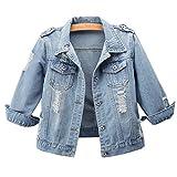 Hixiaohe Women Autumn 3/4 Sleeve Retro Short Denim Jackets Light Blue Jean Coats (03 Light Blue, M)