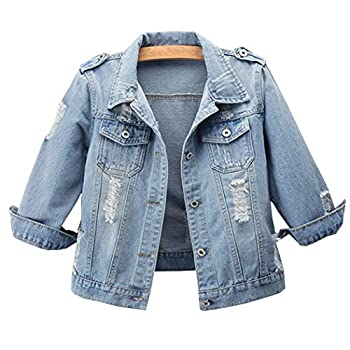 Hixiaohe Women Autumn 3/4 Sleeve Retro Short Denim Jackets Light Blue Jean Coats  03 Light Blue L