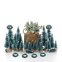 La sorpresa del raccolto: la sorpresa che riceverai, 48 alberi di villaggio in miniatura blu-verde, ghirlande natalizie, 6 pezzi, cartello natalizio, 1 pezzo. Mini alberi di Natale è un piccolo oggetto da collezione dai mobili agli infissi per creare...