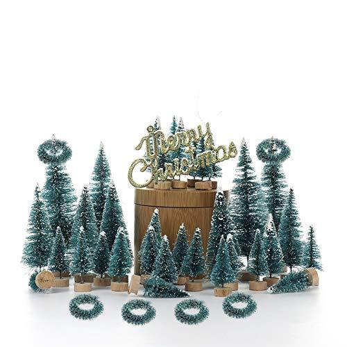 Yeekg Juego de 55 árboles de Navidad artificiales, mini sisal nieve heladas árboles para decoración de mesa del hogar de Navidad
