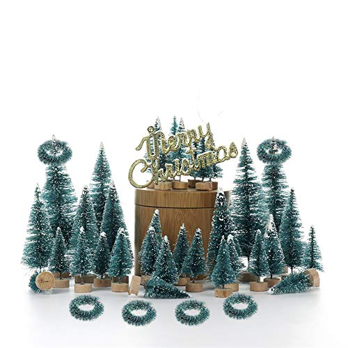 Develoo 48PCS Artificial Mini Christmas Trees, Sisal Trees with Wreath and Merry Christmas Sign Wood Base Bottle Brush Trees for Christmas Table Decor Winter Ornaments
