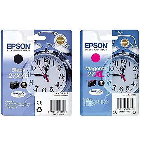 Epson C13T27914022 - 27XXL - Cartucho de Tinta + 27XL DURABrite Ultra - Cartucho de Tinta, Paquete estándar, XL, Color Magenta