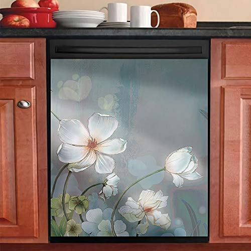 "Dishwasher Cover Magnet Kitchen DecorativeDish Washer Door StickerRefrigerator Door Magnetic Decals SheetHome Cabinet Decor Panel DecalMagnet White Flowers M(23""W x 26""H)"
