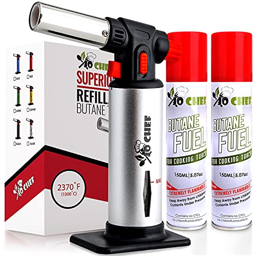 Kitchen Torch With Butane included - Refillable Butane Torch With Safety Lock & Adjustable Flame + Fuel gauge - Culinary Torch, Creme Brûlée Torch for Cooking Food, Baking, BBQ, 2 Cans Included