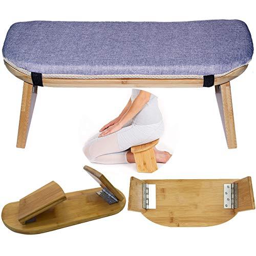 Folding Meditation Bench, Portable Foldable Perfect Kneeling Stool Ergonomic Bamboo Yoga Bench, for Tea Ceremony, Seiza, Yoga, Praying and Healthier Sitting