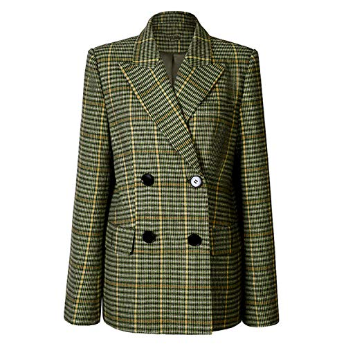 Green Plaid wolblazer twee rijen pak jas dames slim ruit dames kantoor bovenkleding winterjas mantel