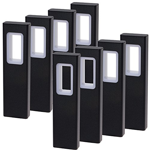 GreenLighting Modern High End Bollard Garden Path Light (Black, 8 Pack)