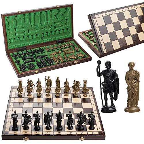 ¡Exclusivo juego de ajedrez de madera decorativo SPARTA de 49,5 cm / 19,5 pulgadas con piezas pesadas!