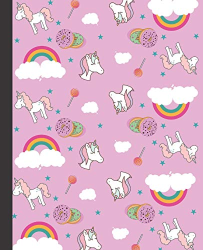 CUADERNO ESCOLAR: Precioso cuaderno de hoja cuadriculada |  Tamaño óptimo para la mochila o cartera del colegio  | 120 páginas de Papel de alta calidad |  Lindo patrón de unicornios para niñas.