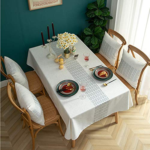 Oukeep Modern Simple Embroidered Tablecloth Wave Pattern Cotton And Linen Waterproof Table Mat Nordic Rectangular All-Match Tablecloth