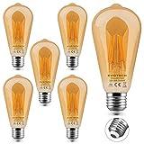 KYOTECH lot de 6 Ampoule LED Filament E27 ST64,4W lumière Blanc Chaud 2700K 400LM Ambre chaud Lampe Décorative Ampoules Pour les éclairages nostalgiques et Maison Bars Restaurant