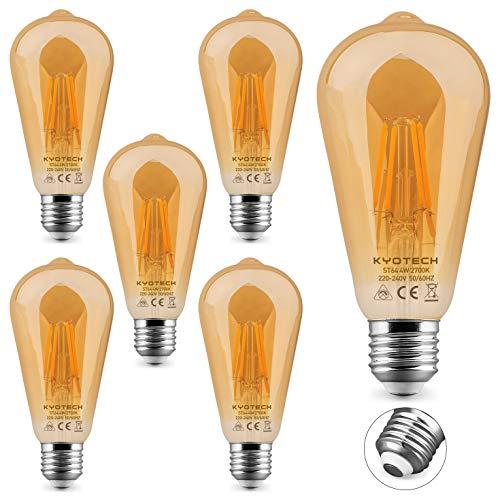 KYOTECH 6er Set Edison Vintage Glühbirne E27 4W Ersetzt 40W 400LM Warmweiß 2700K 360 ° Abstrahlwinkel ST64 Antike Filament Beleuchtung Ideal für Nostalgie und Retro Beleuchtung im Haus Café Bar usw