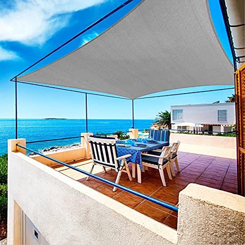 WWMFS Waterproof Sun Shade Sails Rectangle 10' x 10' Sail Shade Canopy UV Block SunShades for Outdoor Patio Garden Backyard Lawn Deck Carport Outdoor Facility and Activities, Grey