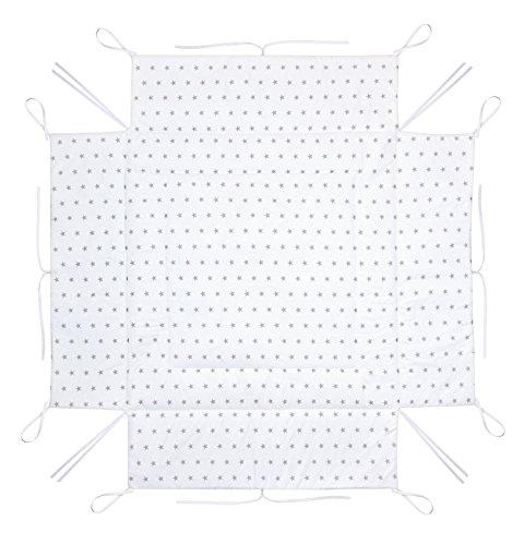 Amilian® Laufstalleinlage Laufgittereinlage Schutzeinlage 100 x 100 cm Sternchen Grau auf Weiß (A3)