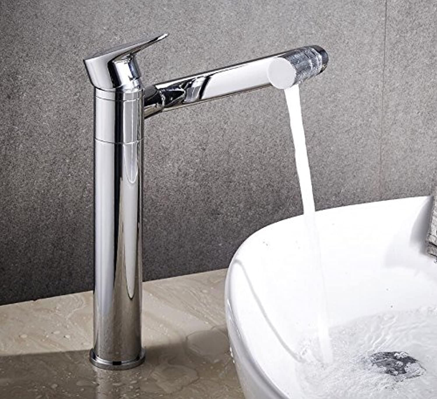 Makej Tall Basin Mixer Water Bathroom Tap Sink Faucet Bathroom Fixtures in Brass Chrome Polished Waterfall Vessel Basin Faucet