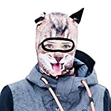 BEARDOWEAR Unisex Realistic Print Happy Cat Head Balaclava Face Mask Ski Mask