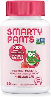 SmartyPants Kids Probiotic Immunity Formula Daily Gummy Vitamins; Immunity Boosting Probiotics & Prebiotics; Digestive Support*; 4 bil CFU, Strawberry Crème, 60 Count(30 Day Supply) Packaging May Vary